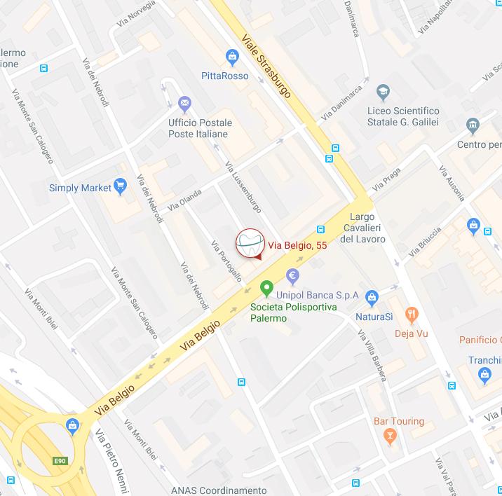 mappa Studio dentistico Emanuele convenzionato Palermo